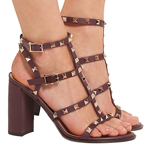 Sandals For Women,Rivets Studded Strappy Block Heels Slingback Gladiator Shoes Cut Out Dress Sandals Brown