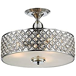 "Saint Mossi Chandelier Modern K9 Crystal Raindrop Chandelier Lighting Flush mount LED Ceiling Light Fixture Pendant Lamp for Dining Room Bathroom Bedroom Livingroom 3E12 Bulbs Required H11"" W15.4"""