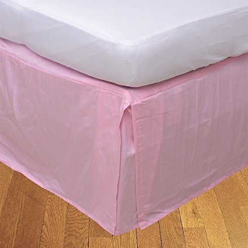 (Relaxare King XL 300TC 100% Egyptian Cotton Pink Solid 1PCs Box Pleated Bedskirt Solid (Drop Length: 29 inches) - Ultra Soft Breathable Premium Fabric)