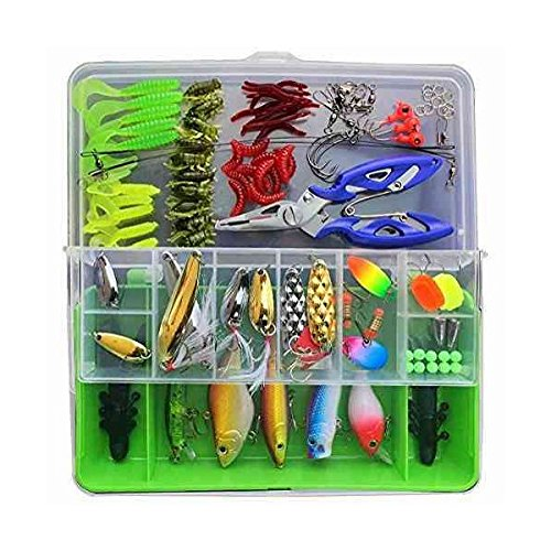 Fishing Lures Fishing Tackle Lots,Portable Fun Fishing Baits Kit Set With Free Tackle Box,For Freshwater Trout Bass Salmon For Sale