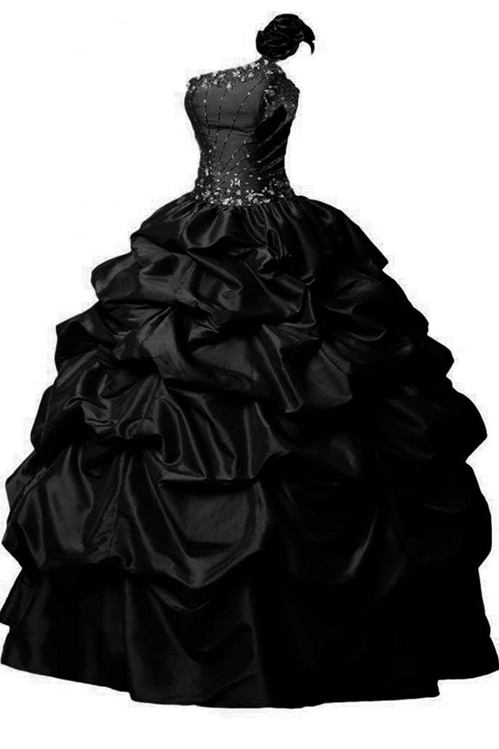 Sunvary Ball Gown Formal Prom Gowns One shoulder Long Satin Quinceanera Dresses