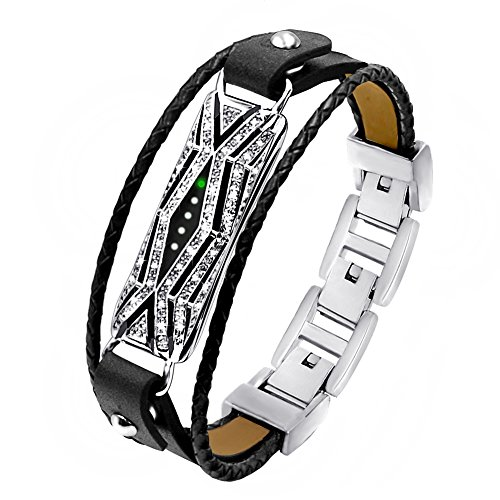 TENGL Compatible Fitbit Flex 2 Bands Bracelet, Adjustable Replacement Genuine Leather Braided Wristbands Metal Clasp with Rhinestone Large Small (New-Black Leather Silver Sleeve)