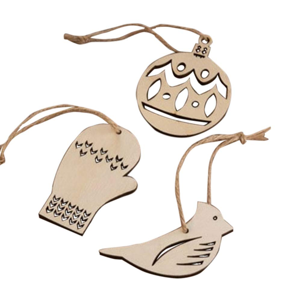 DMZing 3/4pcs Wooden Pendant Christmas Decorations Children's Home Party OfficeDecoration Gifts Cute (C)