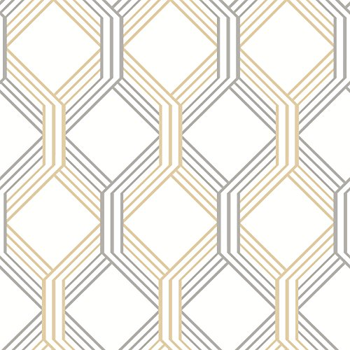 A-Street Prints 2697-78051 Linkage Gold Trellis Wallpaper,