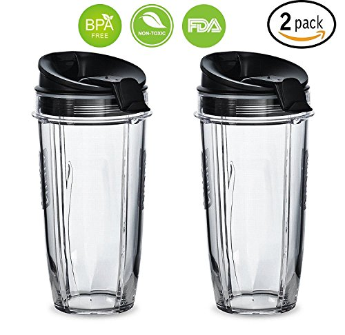 Replacement Nutri Ninja 24 oz Cup with Sip & Seal Lid - For Blender BL450 BL454 Auto-iQ BL480 BL481 BL482 BL687 2-Pack