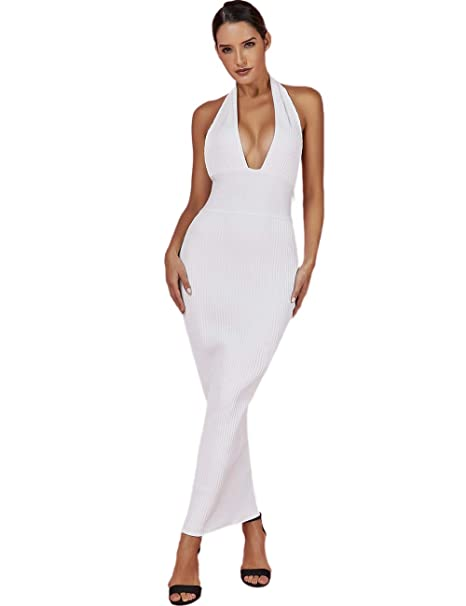a9d16eced3 UONBOX Women s Sexy Halterneck Deep Plunge V Neck Midi Club Party Bandage Dress  White XS