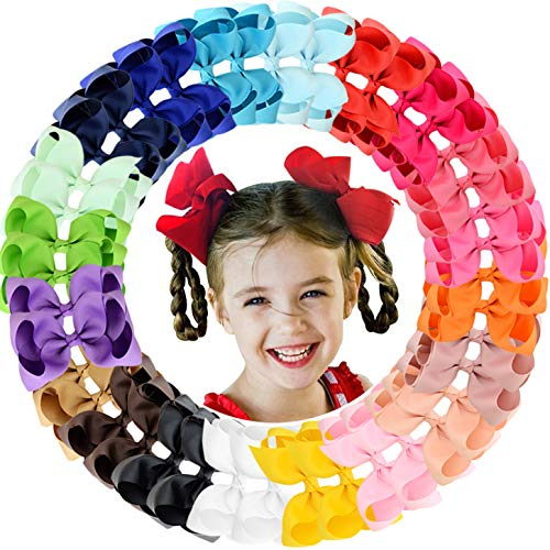 "ALinmo 40Pieces 4.5"" Big Boutique Grosgrain Ribbon Hair Bow Alligator Clips Hair Accessories for Baby Girls Infants Toddler Teens Kids and Children from ALinmo"