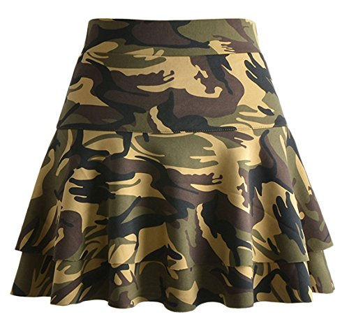 Chouyatou Women's Stretched Versatile Flare Tiered Skater Skirts with Shorts (Medium, (Camouflage Knee Length Skirt)