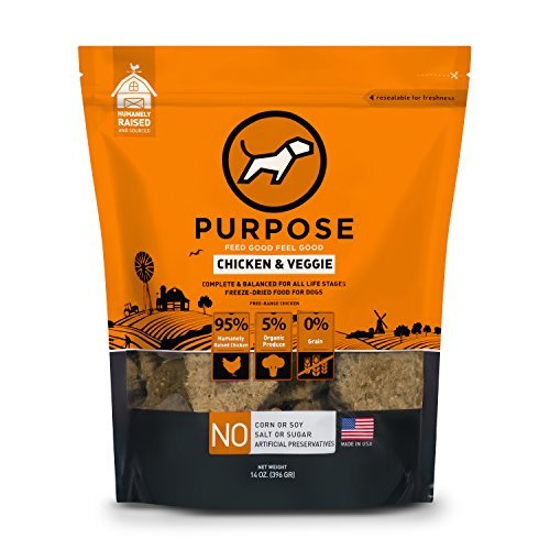 Purpose Freeze Dried Chicken and Organic Veggie Humanely Raised Dog Food 14 Ounce