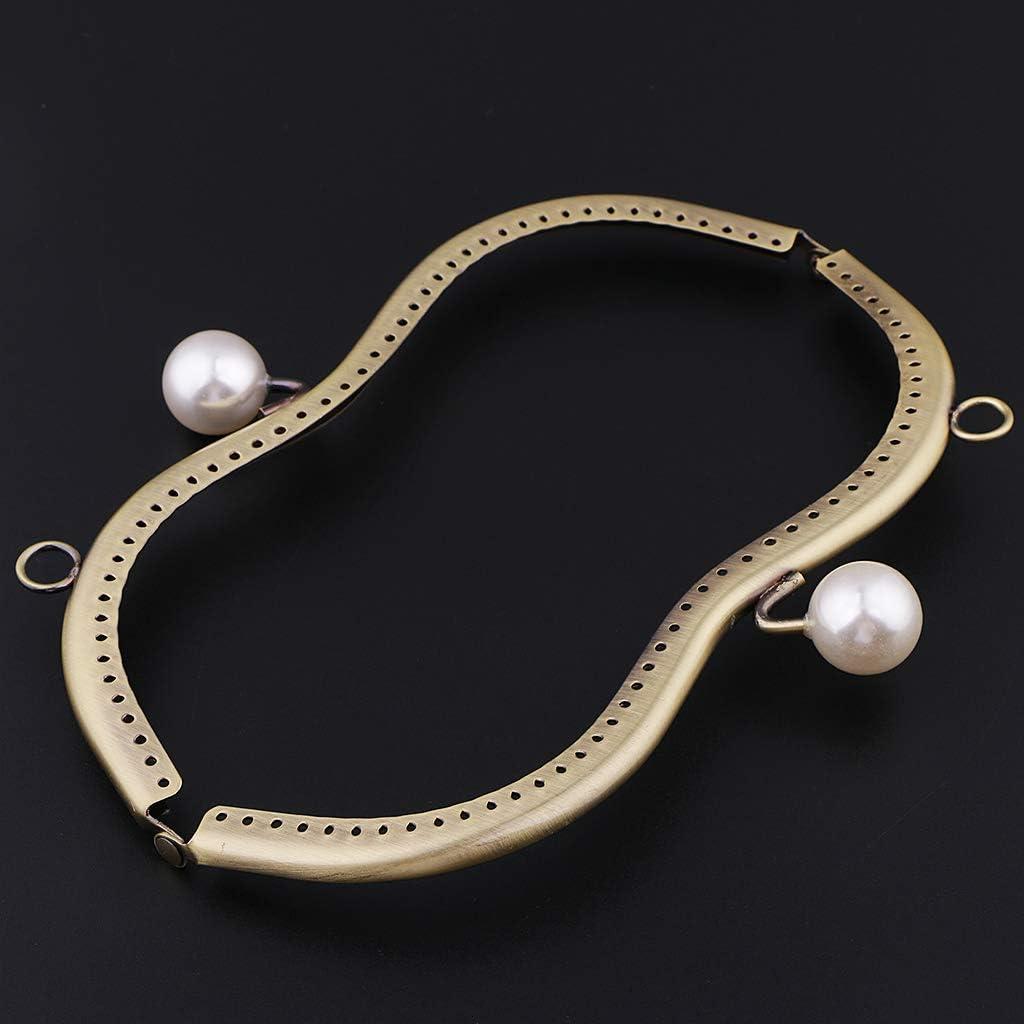 Serrure De Fermoir De Cadre En M/étal Avec Des Perles Pour La Bourse 19cm De Sac /à Main De Sac /à Main De Couture Noir