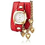 La Mer Collections Women's 'Multi Chain' Quartz Stainless Steel Case Back, Nickle Free Mixed Metal Alloy and Leather Watch, Color:Red/Gold-Toned (Model: LAMERCHARM4503)
