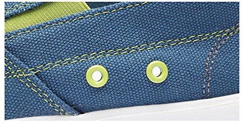 Uomo Mocassini Blue Fluores Classici Slip Leggero Scarpe Grigio Jeans Casual Scarpe da uomo On Canvas uomo da traspiranti xqwPRyTq4z