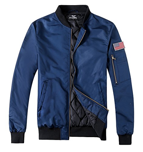 MADHERO Men's Padded Flight Jacket Lightweight Quilted Coat With Patches Color NavySize 2XL