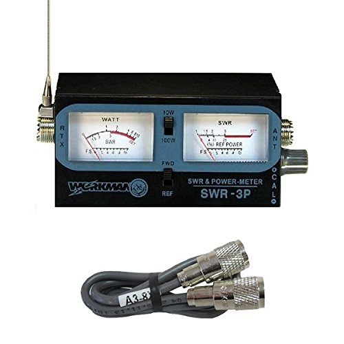 WORKMAN SWR-3P CB RADIO ANTENNA SWR / TEST METER WITH 3` BELDEN JUMPER COAX