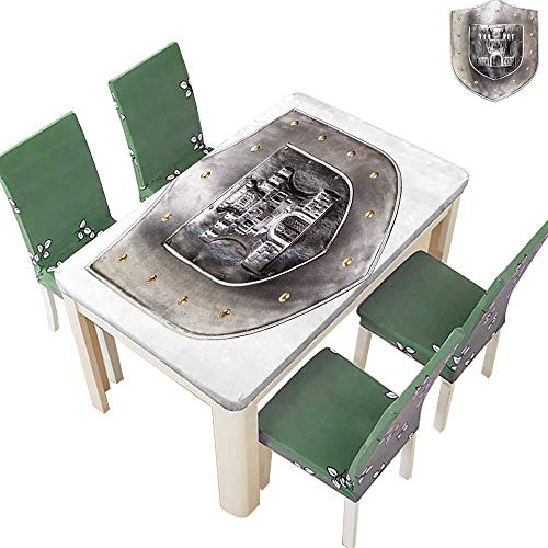 Printsonne 100% Polyester Tablecloth Old Medieval Ir Shield Middle War Military Heraldic Elements Grey Resistant and Waterproof 54 x 72 Inch (Elastic Edge)