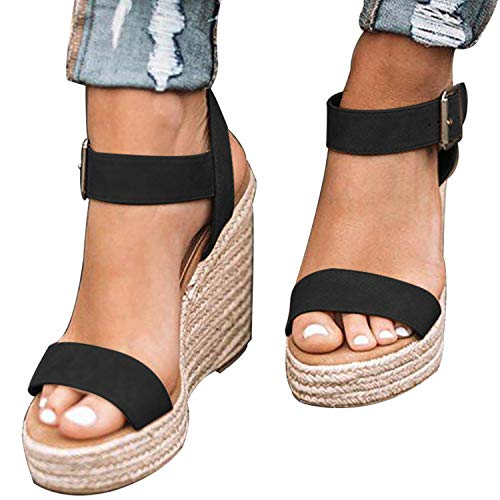 XMWEALTHY Women's Wedge Sandals Casual Sandals Shoes Summer Ankle Buckle Open Toe Wedges Heels US Size 7 Black