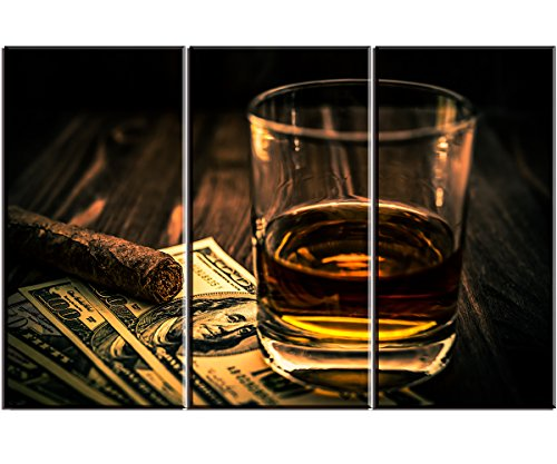 Artisweet Cigar $ Wine Canvas Wall Art for Bar, Pictures Canvas Prints Oil Paintings for Home Decoration Wall Decor Artwork (Decor Wall Bar)