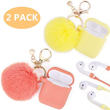 buy online 931c8 f97f0 Airpods Case - Filoto Airpods Silicone Glittery Cute Case Cover with  Keychain/Strap for Apple Airpods 1&2, with BBF (Living Coral+Mellow Yellow)