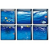 TOOGOO(R) 6pcs 13x13cm Ocean Fish Pattern 3D bathroom stickers set Removable Anti Slip Waterproof Bathtub Sticker blue color