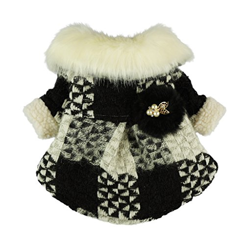 Fitwarm Noble Faux Furred Knitted Pet Clothes for Dog Winter Coat Fleece Jackets Black - Pet Coat Apparel