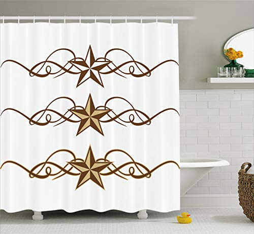 Ambesonne Primitive Country Decor Shower Curtain, Western Stars Scroll Design Ornate Swirls Antique Artistic, Fabric Bathroom Decor Set with Hooks, 70 inches, Light Brown
