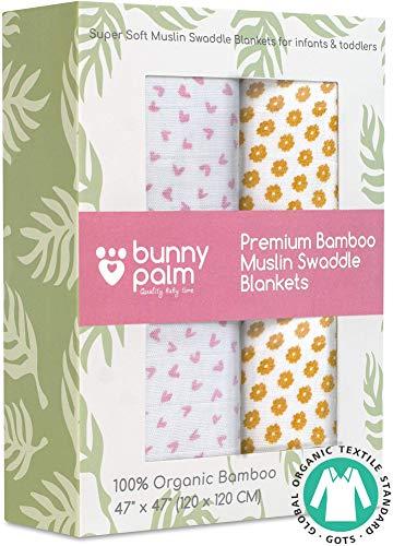 Muslin Swaddle Blankets - Organic Bamboo Set of 2 Baby Blank