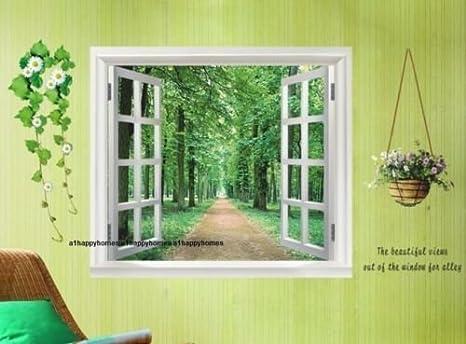 Pareti Salotto Verde : 3d finestra adesivo da parete 60 cm x 90 cm tele per camera da letto