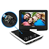 SYNAGY 9'' Portable DVD Player CD Player with Swivel Screen Remote Control Rechargeable Battery Car Charger Wall Charger, Personal DVD Player (White)