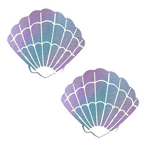 Lustful Lilac Iridescent Mermaid Shell Nipztix Pasties Nipple Covers
