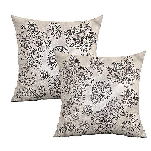 Khaki home Henna Square Pillowcase Protector Monochrome Paisley Doodle Square Personalized Pillowcase Cushion Cases Pillowcases for Sofa Bedroom Car W 16