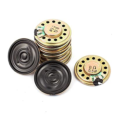 uxcell 10Pcs 27mm Dia 8 ohm 0.5W Metal Shell Round Internal Mini Magnetic Loudspeaker for Voice Toy from uxcell