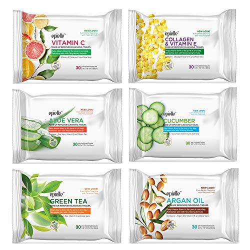 Epielle New Make-Up Remover Cleansing Tissues, 30 Count (Assorted 6 Pack) 1-Vitamin C, 1-Collagen & Vitamin E, 1-Aloe Vera, 1-Cucumber, 1-Green Tea, 1-Argan Oil 1
