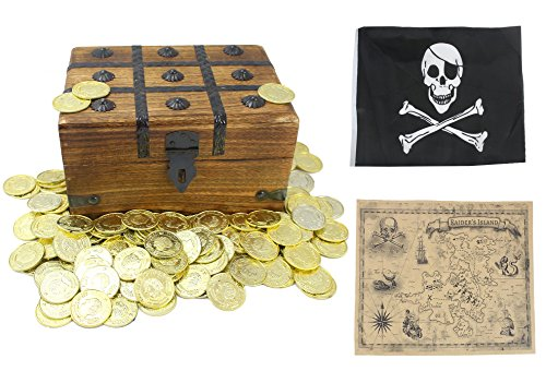 (Large Wooden Treasure Chest Box Toy Plastic Gold Coins Pirate Flag Boys Kids Girls Children by Well Pack)