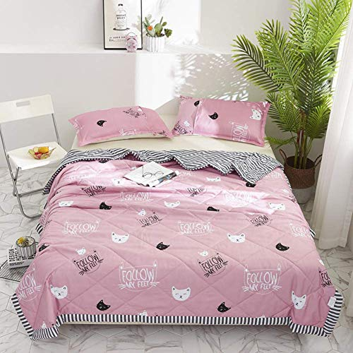 Smibra Comfortable Summer Quilt Soft Bed Couch Elegance Pattern Thin Quilt for Sleeping and Snuggling Best Gift for Kids/Babies/Adults-002(W78 x L90 Inch, Pink2)