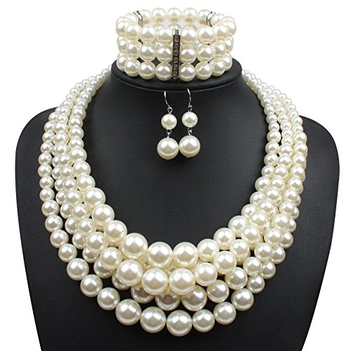 Strand Faux Pearl Cluster Collar Bib Choker Necklace Bracelet and Earrings Suit Jewelry Sets (White) ()