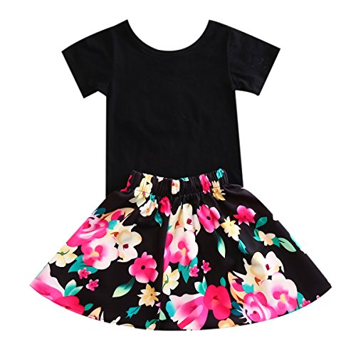 Baby Girls T-shirt Tops+Floral Short Skirt Print Floral Two Pieces Dress Outfit Clothes Set (6-7 years)