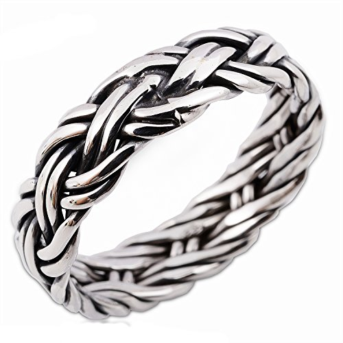 Thai Design Woven Stunning Solid Sterling Silver Statement Jewelry Men Women Ring (6)
