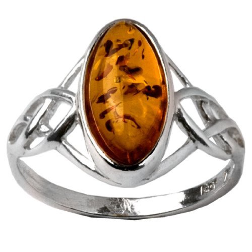 Baltic Light Honey Amber Sterling Silver Celtic Ring Cabochon