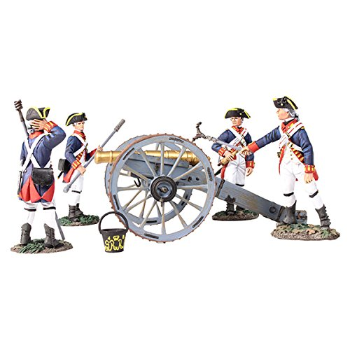 French Soldier Figure - Clash of Empires W Britain 16015 - British Royal Artillery 6 Pound Gun with 4 Man Crew 5 Piece Set 1/30 Scale Painted Metal Toy Soldier Figures Compatible with Thomas Gunn Collectors Showcase Frontline King Country