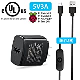Raspberry Pi 3 Power Supply 5V 3A with Switch UL Certified Compatible w/ 2.5A 2A 1.5A 1A Fast Rapid Charge AC Adapter w/ 1.5m Extra Long On Off Power Switch Micro USB Cable