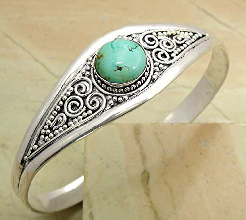 6.00ctw Genuine turquoise 925 Sterling Silver Overlay Handmade Fashion Cuff Bangle Jewelry