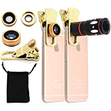 Jielin 4 in 1 Universal 10x Mobile Phone Telescope Clip Camera Lenses 0.67X Wide-angle 180 Degree Fisheye Macro Lens(Gold)