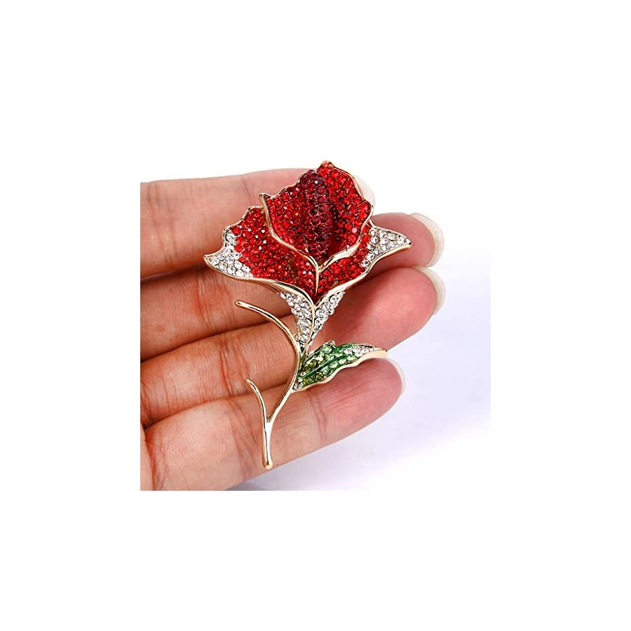 EVER FAITH Women's Austrian Crystal Enamel Blooming Rose Flower Bud Leaf Brooch Gold Tone