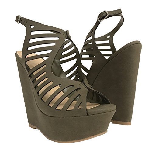 Delicious Sula Women's Cutout Ankle Strap High Heel Platform Wedge Sandals, Light Olive Nubuck Leatherette 7.5 M US (Heel Cage Platform High)