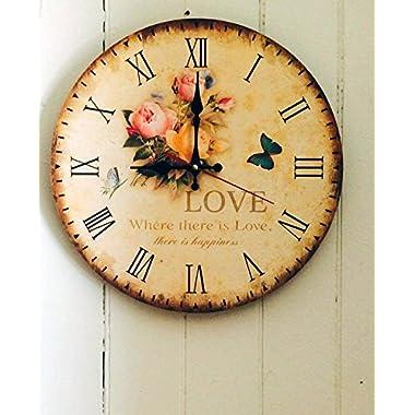LeBeauTemps Vintage 12  Silent Round Wall Clock, Home Decor Wooden Rose Clock