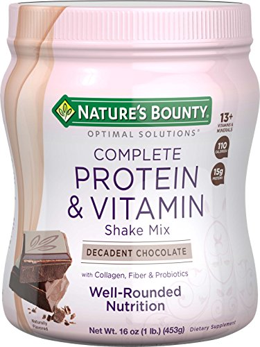 Nature's Bounty Optimal Solutions Protein Shake Chocolate, 16 Ounce Jar, Protein and Vitamin Shake Mix for Women, with Added Nutrients Weight Loss Protein Powder