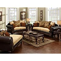 2 Pc. Doncaster Classic Light Mocha And Espresso Leatherette Upholstered Sofa and love seat Set with wood trim - Made in the USA