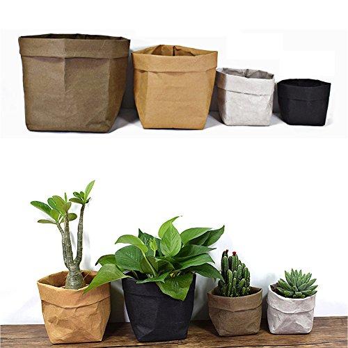 rage Basket Kraft Paper Bag Reusable Storage Bins Plants Organizer Cover for Food, Fruit, Toys, Laundry (Yellow, L) ()