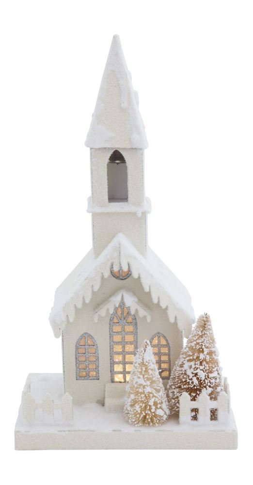 Heart of America Paper Church With LED Light White Silver - 2 Pieces