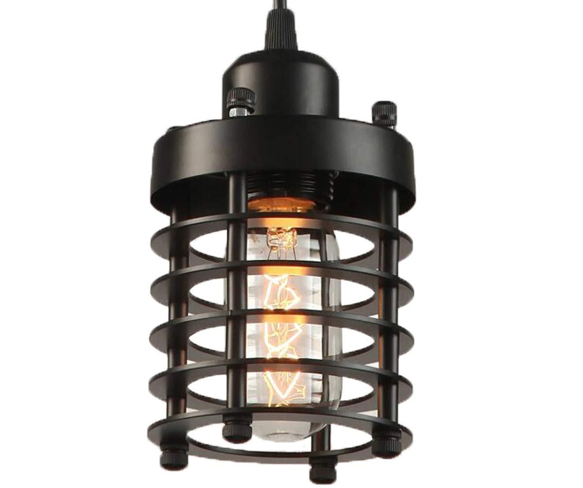 Licperron Industrial Pendant Light, Edison Hanging Caged Pendant Lighting Fixture Black Mini Pendant Light Vintage Ceiling Lights for Home Kitchen Lighting 1 Pack